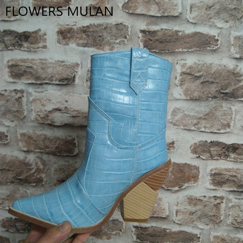 Light Blue Genuine Leather Women Boots 2018 Pointed Toe Western Boots Cowboy Boots Women Mid-calf Chunky Wedges Boots Runway blue yellow snake skin women boots 2018 pointed toe western boots cowboy boots runway design chunky wedges heel mid calf boots