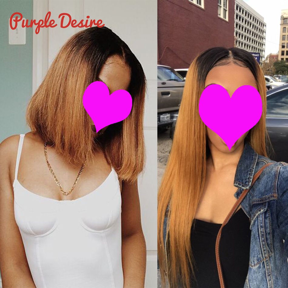 Ombre Hair Straight Hair Bundles T1B / 4/30 Brun Honung Blonde 100% - Mänskligt hår (svart) - Foto 3