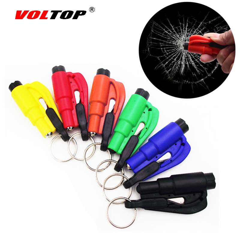 Sicurezza auto Martello Portachiavi Catena Coltello Salvadanaio Cintura Cutter Pausa Window Glass Auto Emergenza Fuga Rotto Rescue Tool