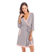 2020 yaz Kimono elbiseler kadınlar yumuşak Modal banyo elbisesi Yukata gecelik Pijama kadın Sleepshirts bornoz Pijama Mujer