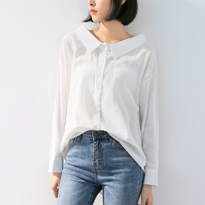 Shirts Peter Pan Collar Single-breasted Long Sleeve Solid Office Lady