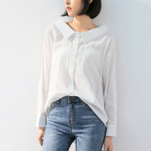 Shirts Peter Pan Collar Single-breasted Long Sleeve Solid Of