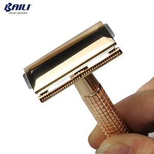 Image 3 - Мужские классические лезвия для бритья BAILI, ручная бритва с двойной кромкой + 11 лезвий + чехол BD173 + BP001B