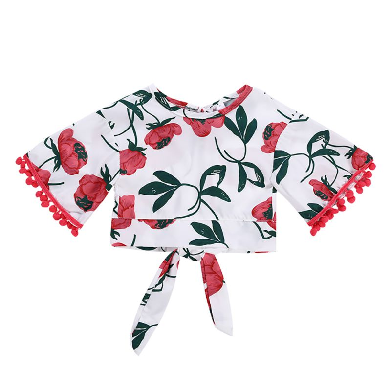 0-5T Kids Baby Pompom Clothes Short Sleeve Floral Printed Tie Knot Crop Top Short Pants Outfits Set