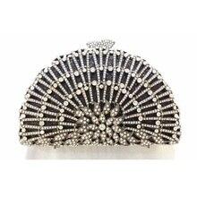 8323BK Crystal Lady fashion Wedding Bridal Party Night Black hollow Metal Evening purse clutch bag case box handbag