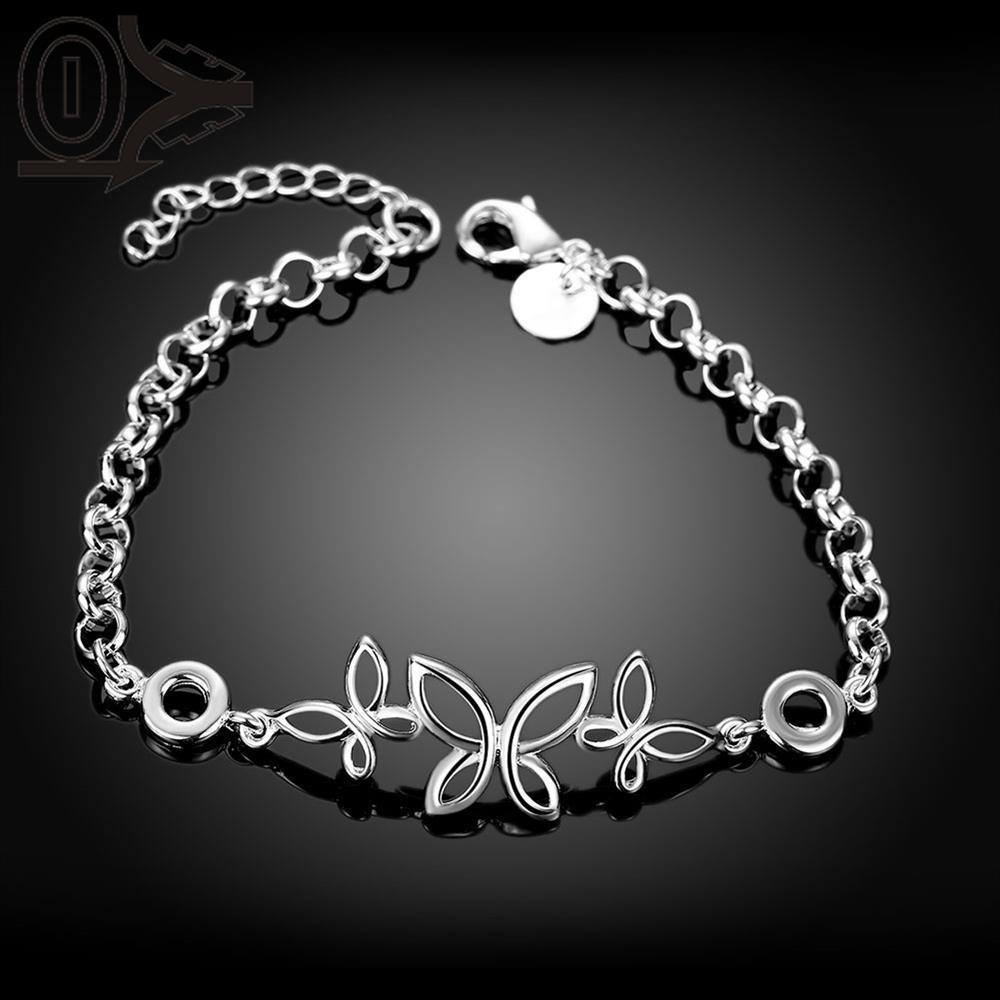 Free Shipping Silver Plated Bracelet,Latest Women Classy Design,Korea Three Hollow Butterfly Ladies Bracelets Christmas Gfit