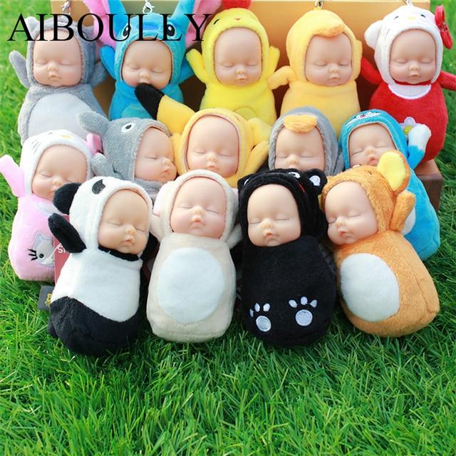 plush sleeping simulation baby cute dolls stuffed toys phone bag