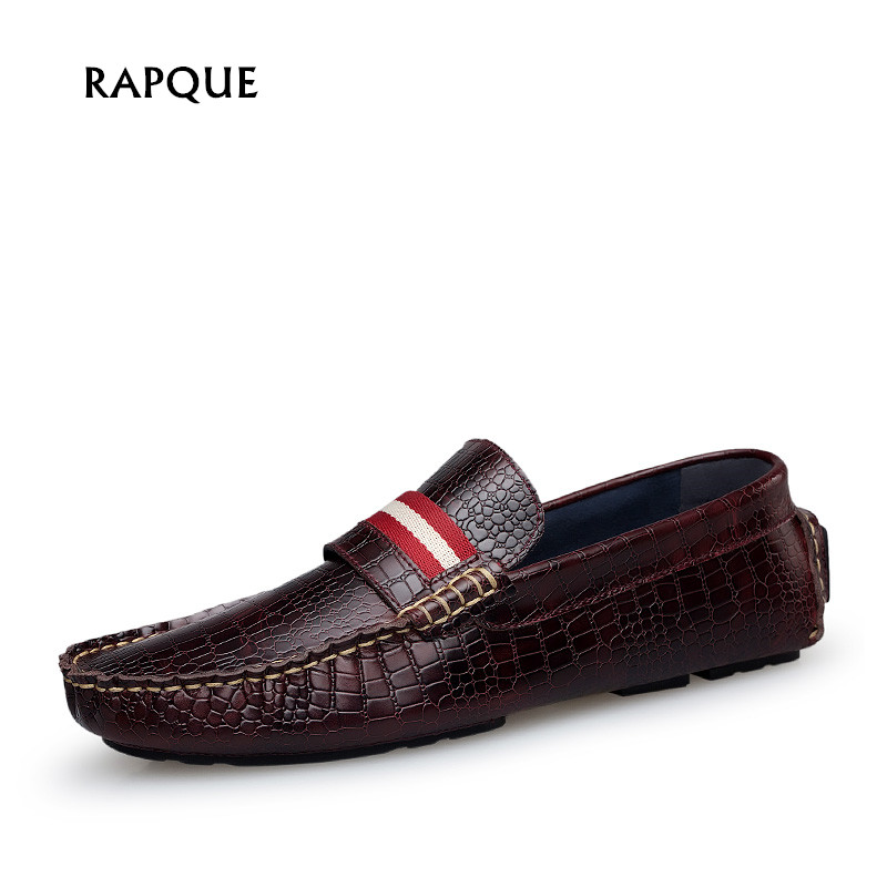 New mens loafers shoes crocodile Genuine cow Leather High Quality Men Flats Gommino Driving Shoes Slip On Moccasins RAPQUE