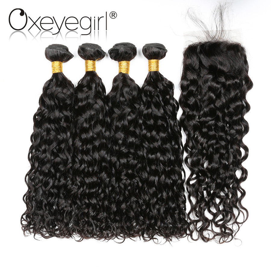 Oxeye girl Human Hair Bundles With Closure Natural Color Brazilian Hair Water Wave Bundles With Closure Non Remy 5 Bundles/Bag
