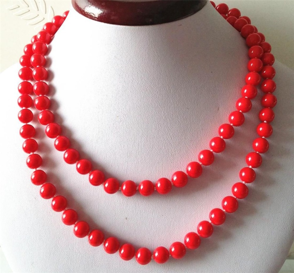 New (Min Order1) Charming 8mm Red Sea Shells Pearl Necklace Elegant Sweater Chain Beads Jewelry Making Design Natural Stone