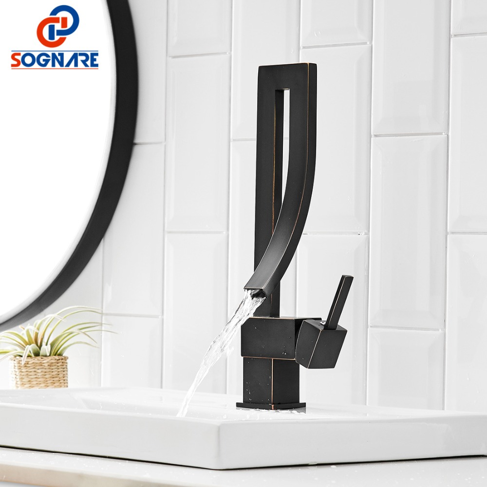 Black Square Faucet Luxury Waterfall Tap Tall Bathroom Basin Faucet 360 Rotate Taps And Faucets For