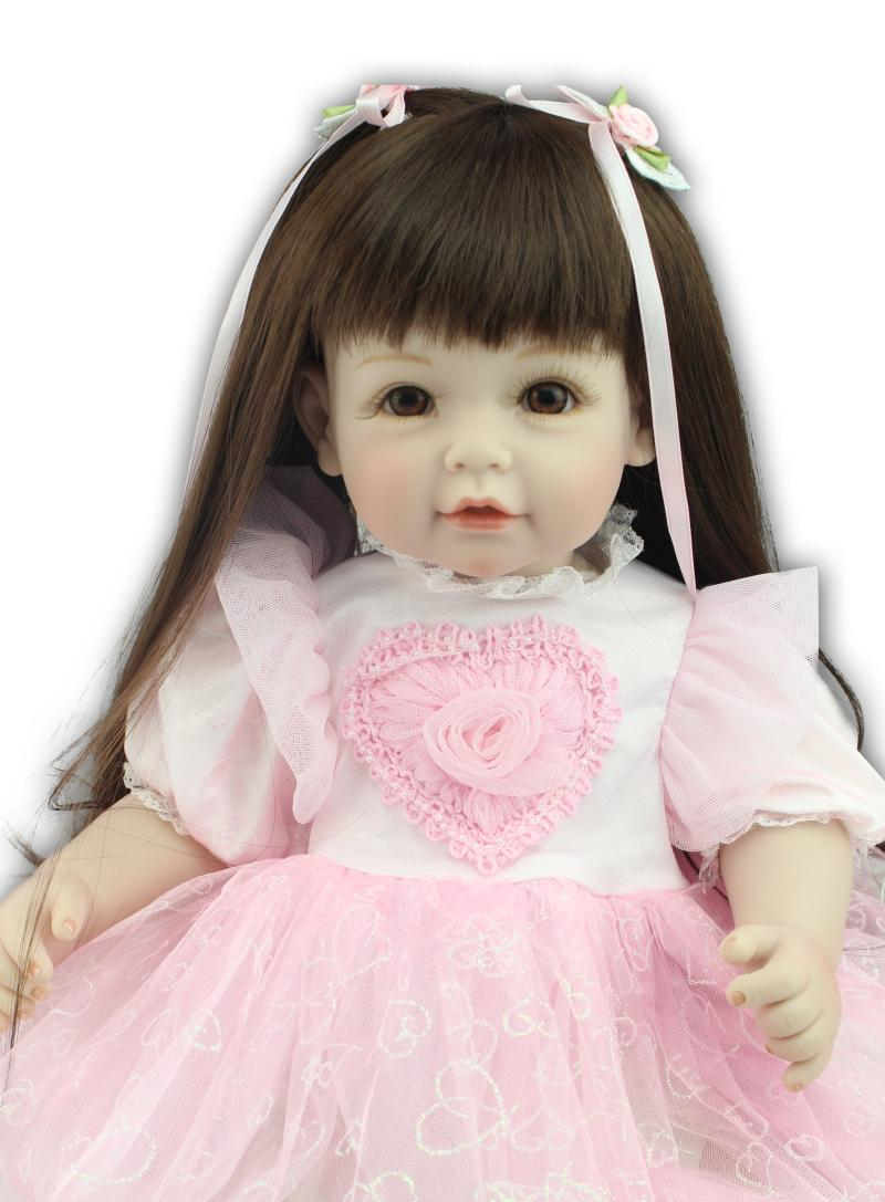 Nicery 20inch 50cm Lifelike Reborn Baby Doll Girl High Vinyl Christmas Toy Gift for Children Smile Princess Pink Heart Dress nicery 18inch 45cm reborn baby doll magnetic mouth soft silicone lifelike girl toy gift for children christmas pink hat close