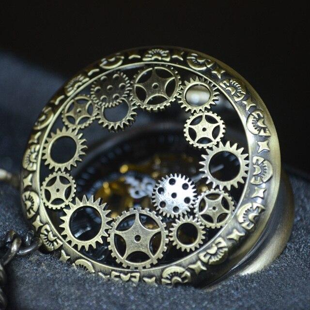 TIEDAN Bronze Sport Style Steampunk Skeleton Mechanical Pocket Watch Men Antique