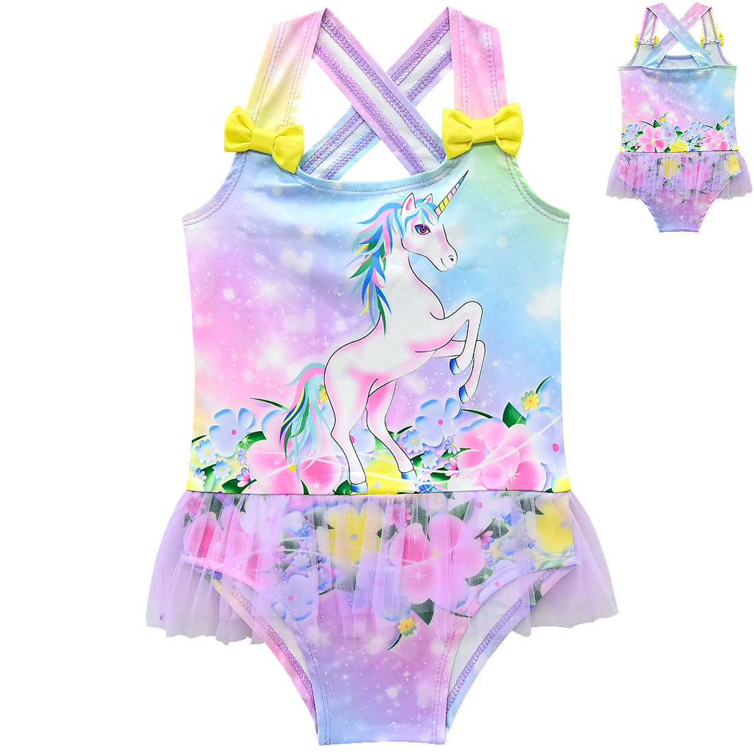 One-Piece Swimsuit Unicorn Girl's Beach Children's Tutu 2-10-Years
