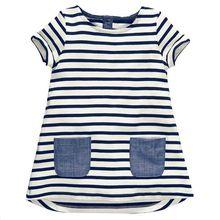Girls Summer Dresses1-6Y Kids Baby Casual Short Sleeve Pocket Striped O-neck Dress