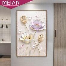 """Meian, especial, bordado de diamantes, completo, bricolaje, pintura de diamantes """"flores de tulipán"""", punto de cruz, mosaico de diamantes, imagen de cuentas, decoración del hogar"""