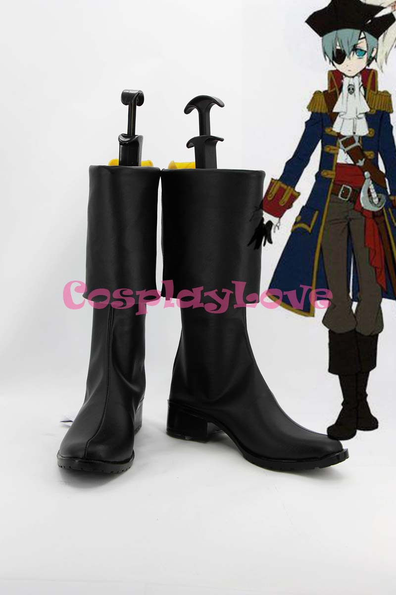 custom made black pirate ciel cosplay shoes long boots from black butler kuroshitsuji ii for christmas halloween - Black Butler Christmas