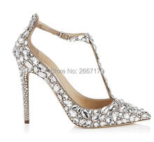 Luxury Diamonds Wedding Pumps T-strap Crystal High Heels Pointed Peep Toe  Stilettos Bride Dress Shoes 2e6d1376f4a7