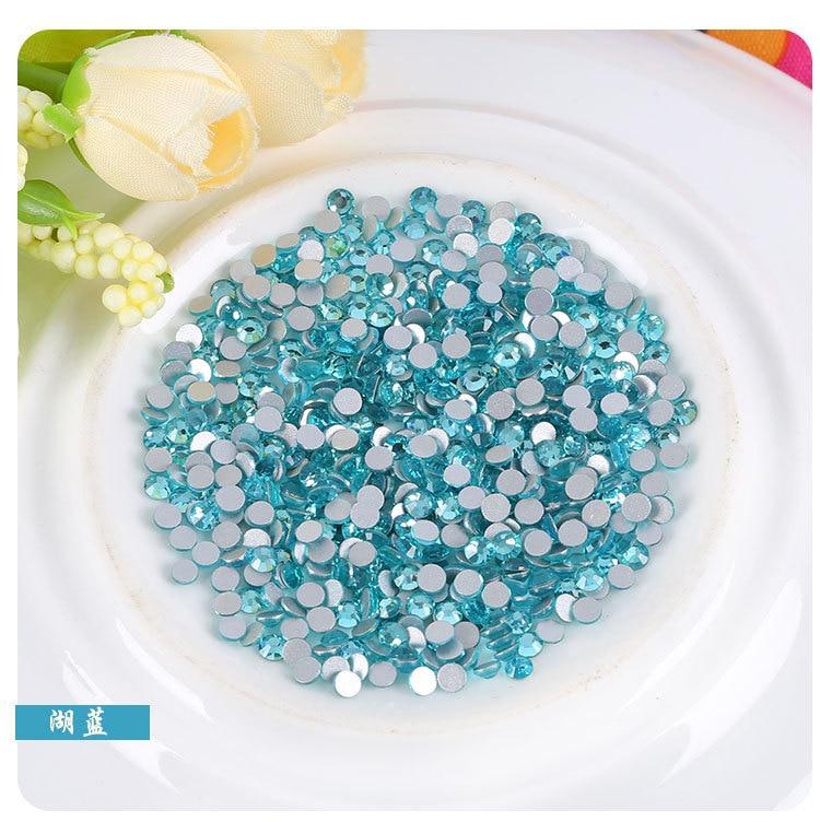 Doprava zdarma! SS3-SS34 (1.3MM-7MM) Lake blue glass flatback Nail Art diy Dekorace 3D kamínky