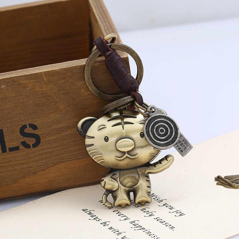 """ZORCVENS Новая мода 12 знаков зодиака кожаный брелок винтажный животное Медный кулон для держателя ключей милые брелки для ключей """"Животные"""" цепь"""