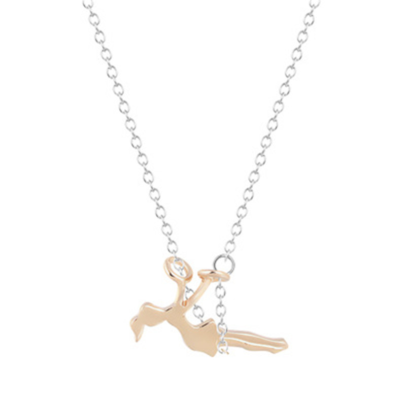 2018 Dainty Jewelry Girl Swinging On A Swing Acrobat Charm Women Necklace Gold Color Chain Birthday Gifts Collares Necklace Pendant Necklaces Jewelry & Accessories