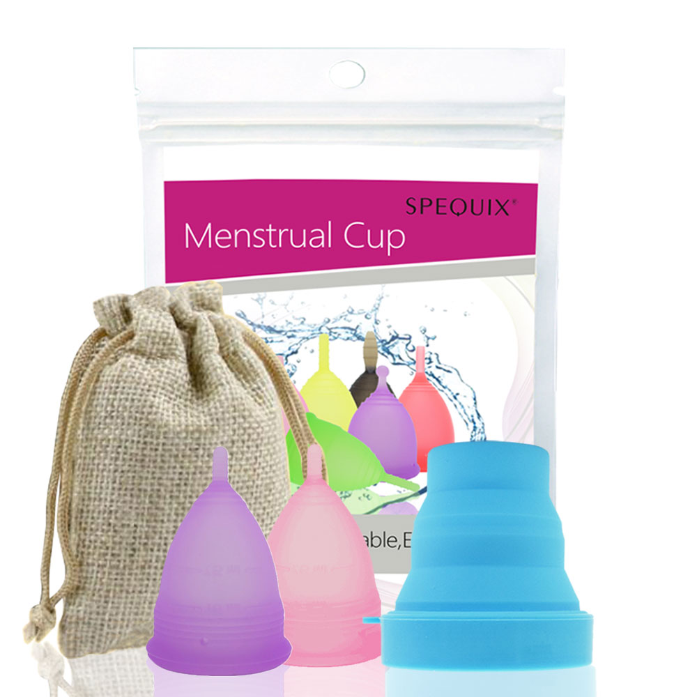 2 PCS Fashion Lady's Feminine Menstrual Cup Vagina Cup Copa Menstrual De Silicona Medica Periods Cup With 1 PCS Collapsible Cup cup