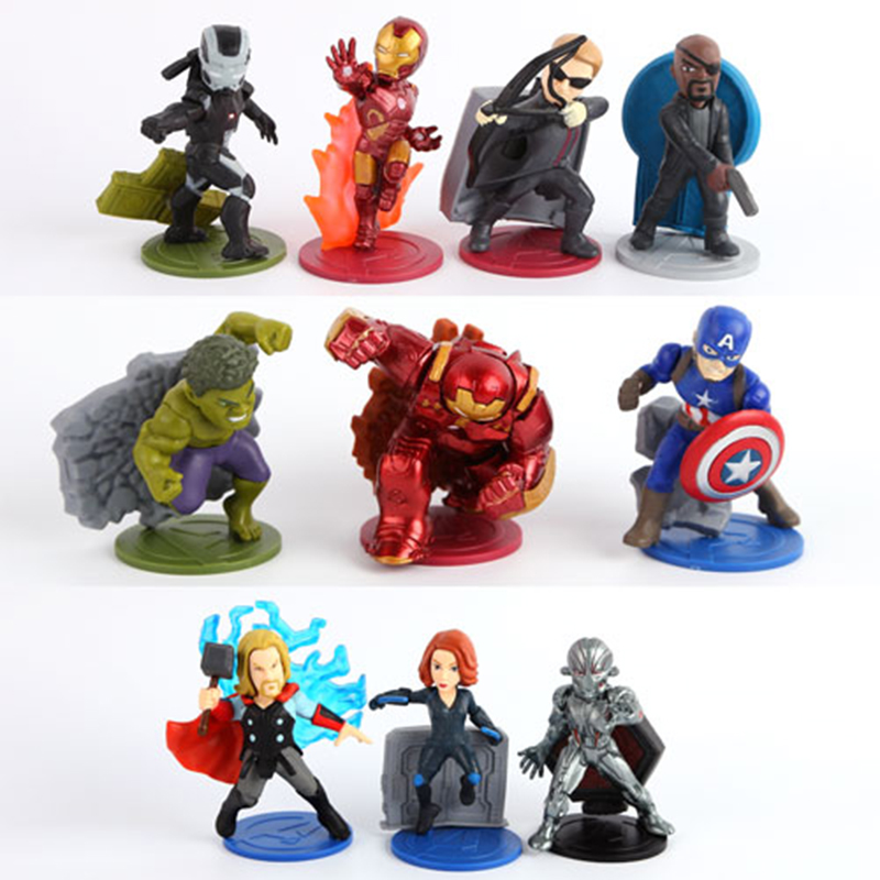 Marvel Avengers Action Figure Juguetes Captain America Iron Man Super Heroes Figures Collectible Model Toys For Children 9CM xinduplan marvel shield iron man avengers age of ultron mk45 limited edition human face movable action figure 30cm model 0778