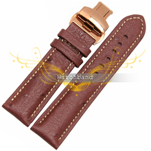 Free shipping18mm 20mm 22mm Black Brown Ostrich grain Gold butterfly buckle Soft Genuine Leather Watch Band