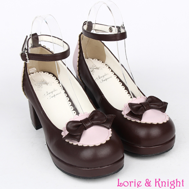 ФОТО Lolita Maid Cosplay Girls Chunky Heel Ankle Strap Sweet Bowknot Shoes BLACK/PINK/BROWN