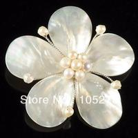 New Arriver Charming Natural Freshwater Pearl & White Shell MOP Flower Pin Brooch 72mm Handcrafted Fashion Jewelry Free Shipping