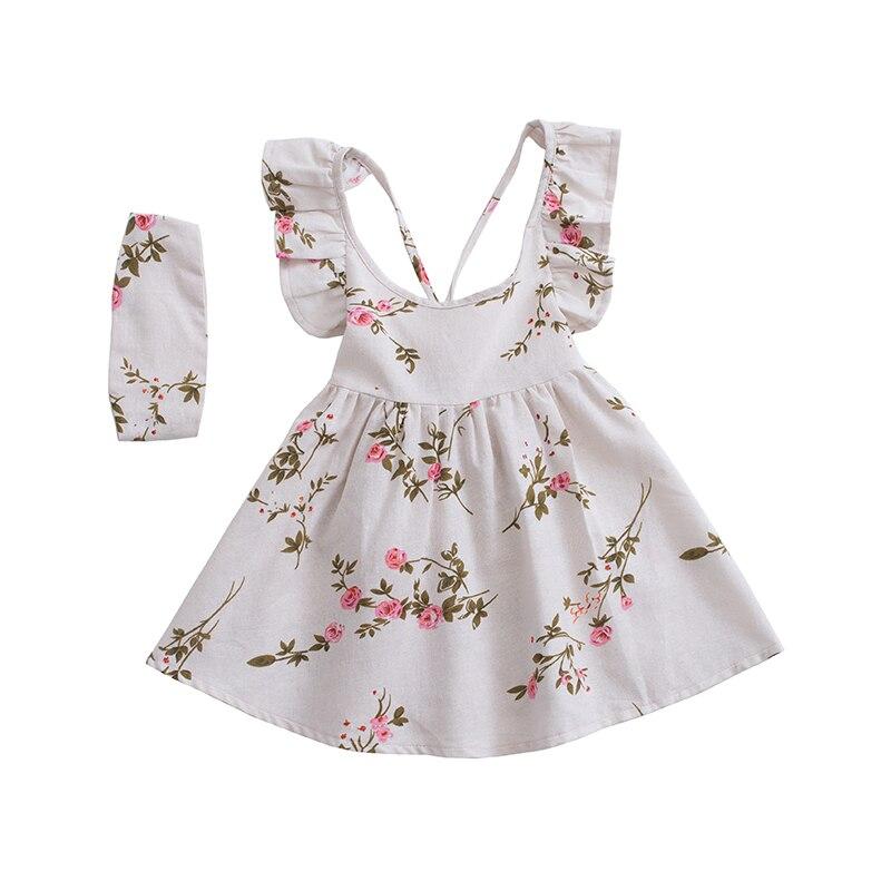 Оборками Лето Обувь для девочек платье с коротким и широким подолом Peach Blossom печати белье дети платье с открытой спиной + heabands детская одежда ... ...