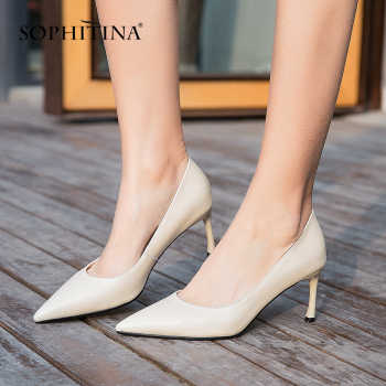 SOPHITINA 2019 New Arrival Basic Career Woman Pumps Classic Pointed Toe Thin Heel Genuine Leather Shoes for Office Lady MO19 - DISCOUNT ITEM  40% OFF All Category