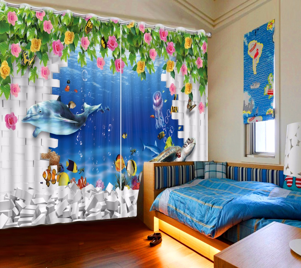 European Printing 3D Curtains dolphin The Living Room Bedroom Sheer Curtains Creative Rose wall Children Room Curtains