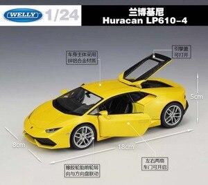 Image 2 - WELLY Diecast 1:24 محاكاة سيارات لعبة كلاسيكية نموذج لامبورجين هوراكان LP610 سيارة رياضية سبيكة معدنية سيارة للأولاد هدية مجموعة