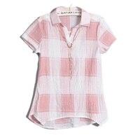 Yeni Kafes Bluz Gömlek Yaz Sonbahar Kadınlar Tops Kısa Kollu Casual Yaka Gevşek Bluz Kadın Ofis Gömlek Kadın A14A Için