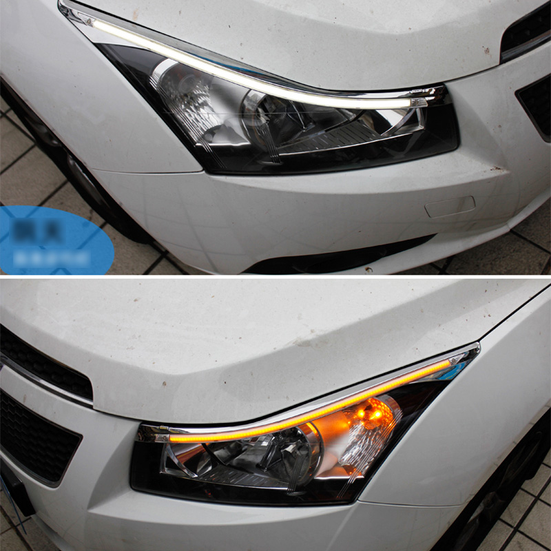 SNCN 2PCS LED Daytime Running Light Yellow Turn Signal Relay Car Headlight Eyebrow Decoration For Chevrolet Cruze 2010 2014