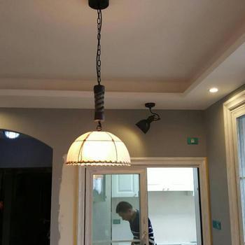 Lámparas de Arte de hierro de restaurante de estilo rural americano, luces colgantes Retro, lámpara colgante Vintage de lino para Bar de estudio creativo