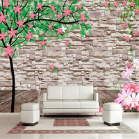 Creative 3D Wallpapers Stone Nature Trees Flowers Murals Wall Papers Home Decor Living Room Green Leaf Modern Brick Wallpapers