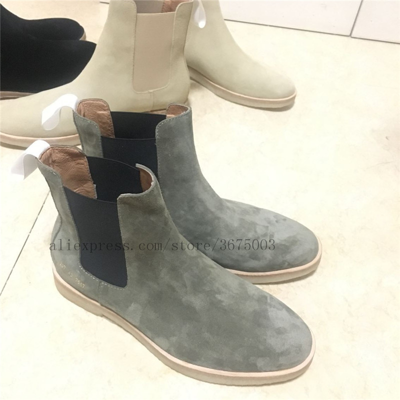 Black Street Handmade West Kanye Suede Chelsea Boots Vintage Raw Rubber England Men slip on Genuine Leather Ankle Boots in Chelsea Boots from Shoes