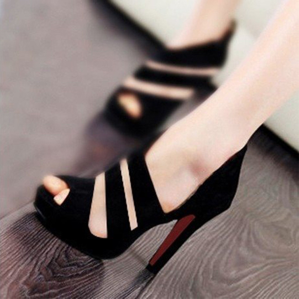 Women's Spring Casual Thin Heels Shoes Peep Toe High-Heeled Shoes Platform super high <font><b>10</b></font> cm <font><b>sexy</b></font> fish mouth party or casual shoe image