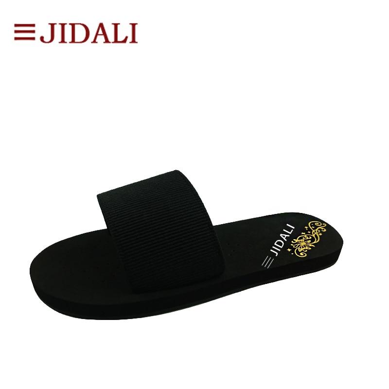 JIDALI модная обувь модные черные Туфли без каблуков эластичные Ева открытый Сандалии-шлепанцы Размер 35–40