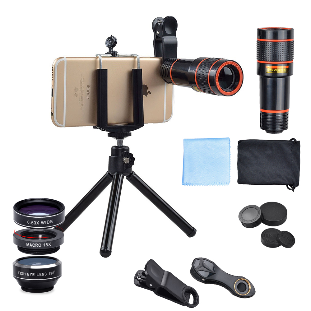 APEXEL 6IN1 phone camera lens 12X Telescope telephoto Zoom+fisheye wide angle macro Lens kit For iPhone7 6S plus Samsung s8 18