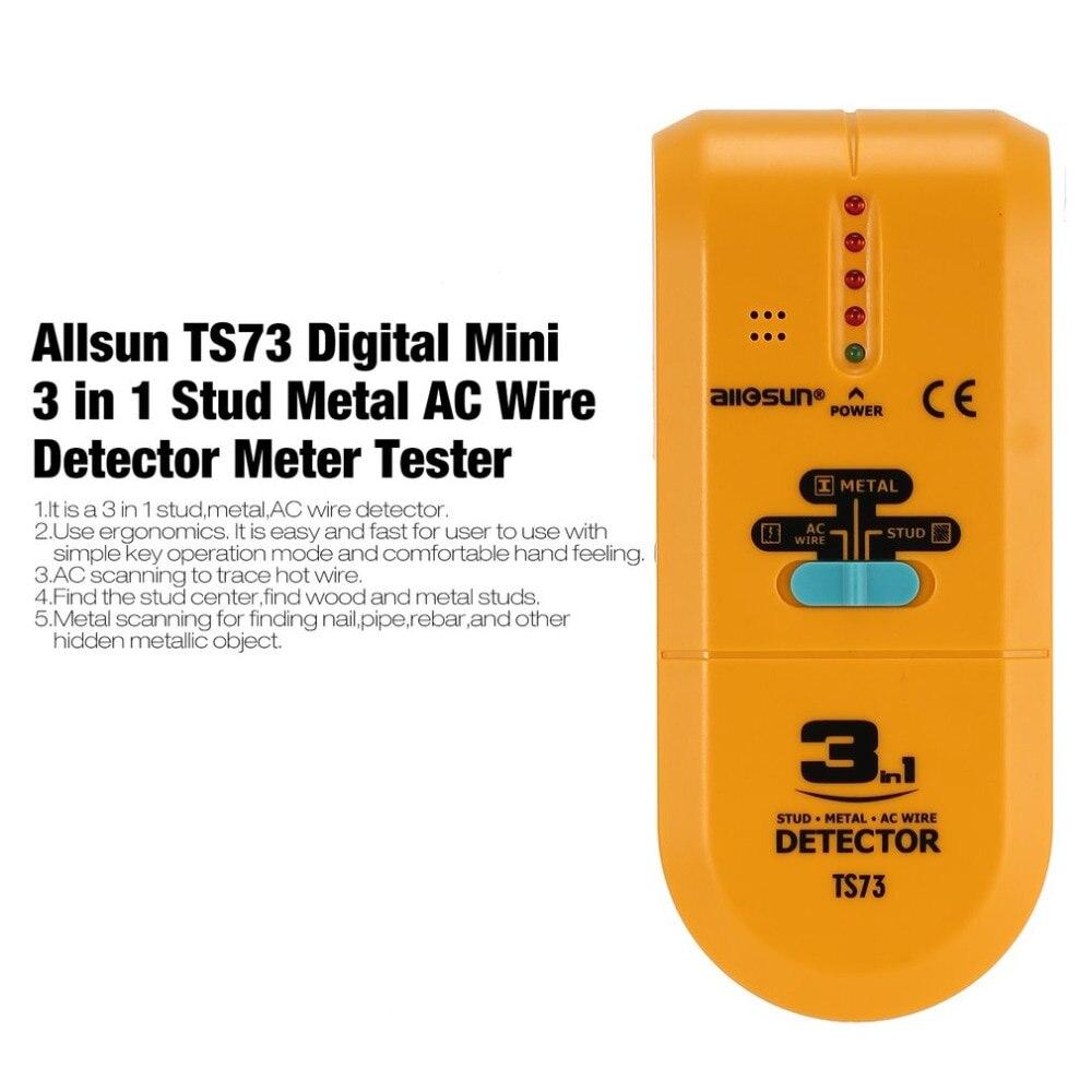 Allsun TS73 Digital Mini 3 em 1 Stud Metal AC Fio Detector Medidor Tester Handheld Treasure Hunter Localizador de Parafuso Quente varredura fio
