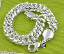 LJ&OMR 10MM 925 STERLING SILVER CHAIN BRACELET Wholesale Fashion Men's Jewelry silver fashion jewelry Men Bracelets(China)