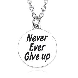Carved Double-sided Never Ever Give Up Round Charm Pendant Fashion Simple Inspiring Choker Necklaces For Women Men Jewelry
