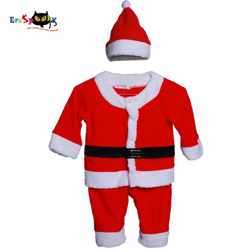 Christmas Costume Cosplay Santa Claus Costume Christmas Suit For Boys Children  Christmas 2017 T Shirt Pants And Hat Set