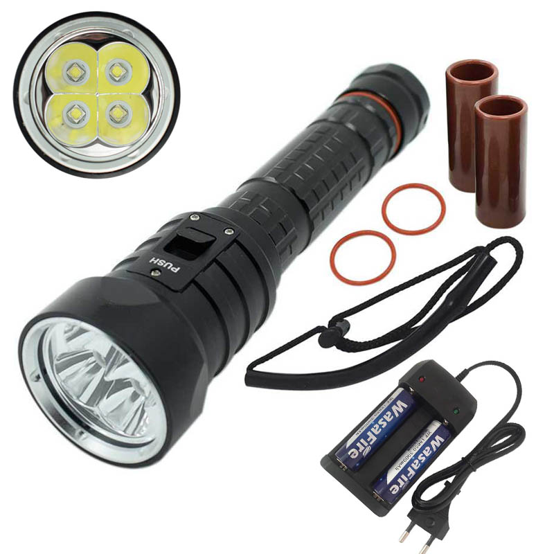 U2 Diving Flashlight 18650 Light Dive Torch Powerful LED 4x XM-L2 Underwater Flashlight Waterproof Scuba Diving Lamp Linterna scuba diving flashlight dx4s underwater hunting torch waterproof dive lamp 4x cree xm l2 white light 18650 26650 led torch