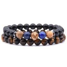 KANGKANG 2pcs/set hot Selling 8mm Natural stone bead Bracelets For Men&Women Bracelet Jewelry charm 2018