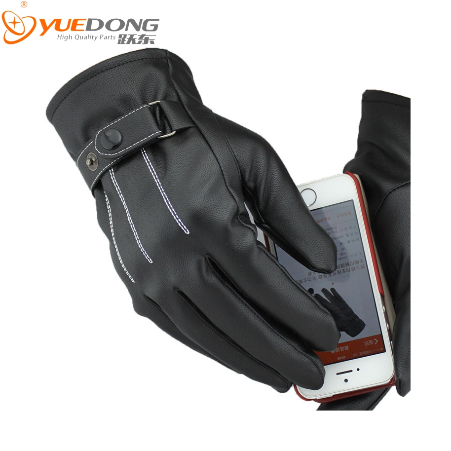 Motorcycle gloves thin - 2016 Yuedong Motorcycle Gloves Racing Motorbike Gloves Spring Male Leather Glove With Thin Villus Inside Touch Screen Gloves