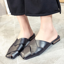 Luxury Leather Mules Woman Shoes Low Heels Summer Slippers Women Mules Shoes Woman Flats Shoes zapatillas mujer buty damskie цена 2017